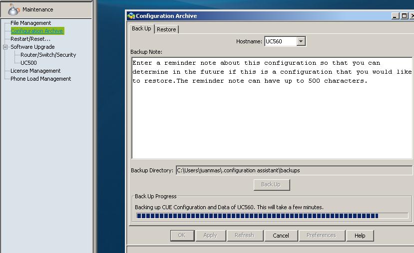 Realizando Backup de unidad uc560