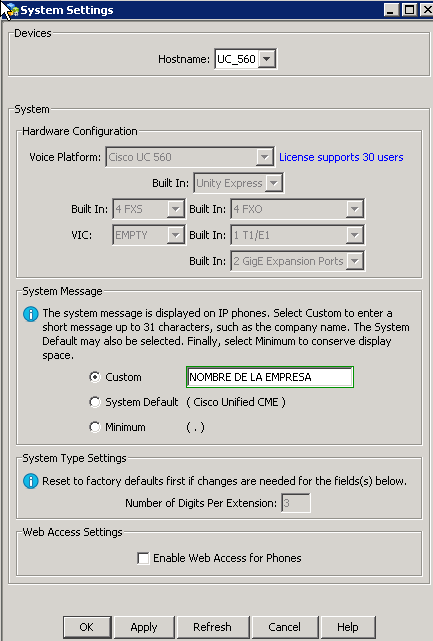 UC560 System settings