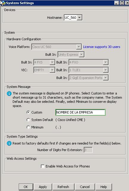 UC560 System settings