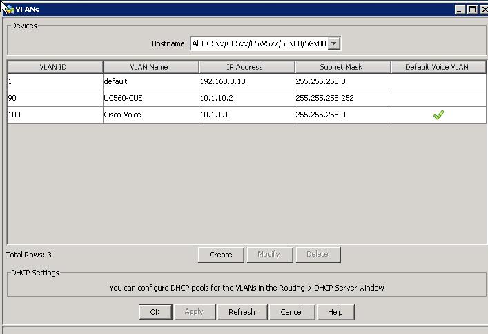 Configuración de Vlans en la UC560