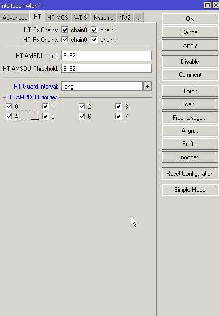 Mikrotik SXT configuración de los intervalos de guarda